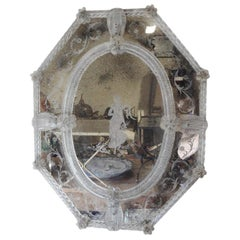 Antique Octagonal Etched Venetian Glass Mirror