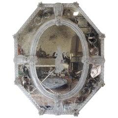 Antique Octagonal Etched Venetian Glass Mirror