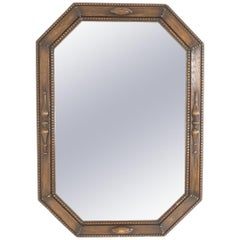 Antique Octagonal Oak Framed Mirror, Overmantle, Scotland 1920, B2310