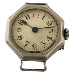 Antique Octagonal Shape Silver Case Trench Watch