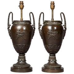 Antique of Pair Greek Bronze Urn Lamps