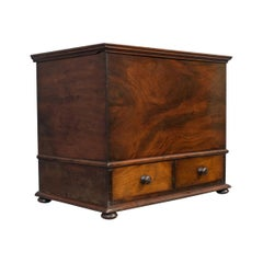 Antique Officers Chest, Victorian, Storage Box, English, Flame Mahogany