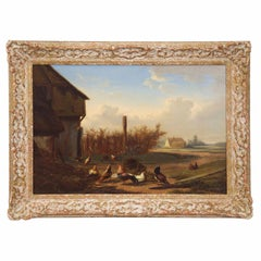Antique Oil Landscape Painting of Farmyard Fowl by Johan Leemputten, circa 1868