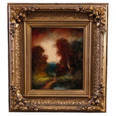 Antique Oil on Board Fall Landscape Painting, Signed H.M. Kircher, c1890