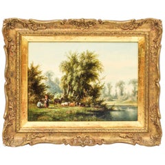 Antique Oil on Board Landscape Painting by Anthony De Bree, 19th Century