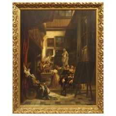 """Antique Oil on Board Painting, """"The Mayor of Amsterdam in Rembrandt's Studio"""""""