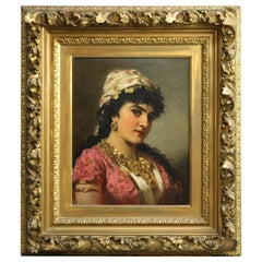 Antique Oil on Board Portrait Painting of a Young Woman by Anton Ebert