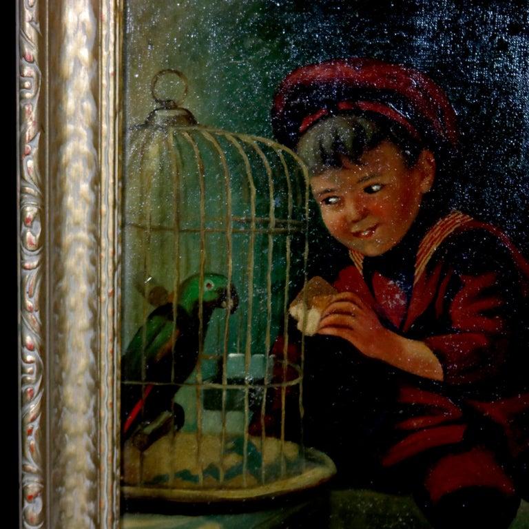 19th Century Original Oil Painting - Boy w/ Chickens c