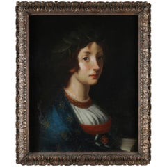 Antique Oil on Canvas European Portrait Painting of Baroness, Early 19th Century