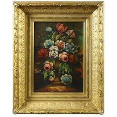 Antique Oil on Canvas Floral Still Life of Flowers in Vase signed Perry , c1880