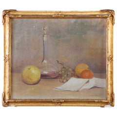Antique Oil on Canvas Fruit Still Life by Dora Reese, Giltwood Framed, 19th C