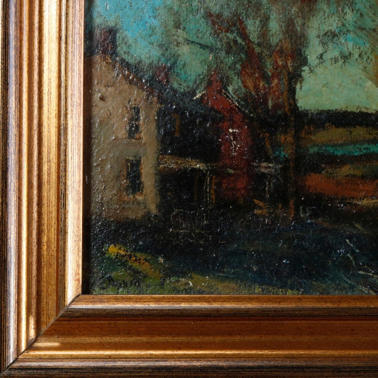 An antique New Hope School oil on canvas painting by Walter Emerson Baum,