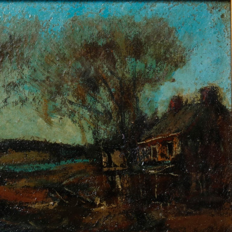 American Antique Oil on Canvas Impressionist Painting by W E Baum, The Village circa 1930
