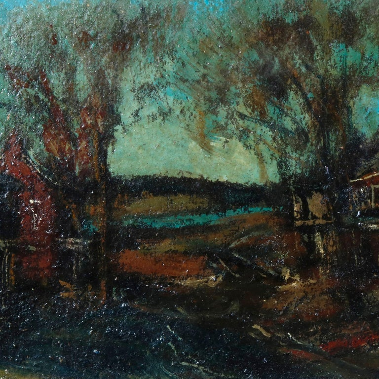 Hand-Painted Antique Oil on Canvas Impressionist Painting by W E Baum, The Village circa 1930