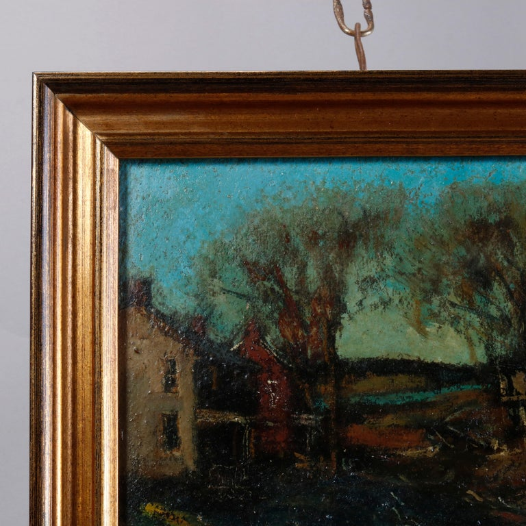 Antique Oil on Canvas Impressionist Painting by W E Baum, The Village circa 1930 In Good Condition In Big Flats, NY