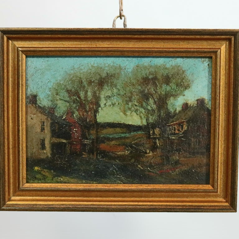 20th Century Antique Oil on Canvas Impressionist Painting by W E Baum, The Village circa 1930