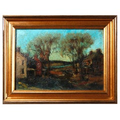 Antique Oil on Canvas Impressionist Painting by W E Baum, The Village circa 1930
