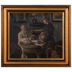 Antique Oil on Canvas Interior Scene of Father and Daughter