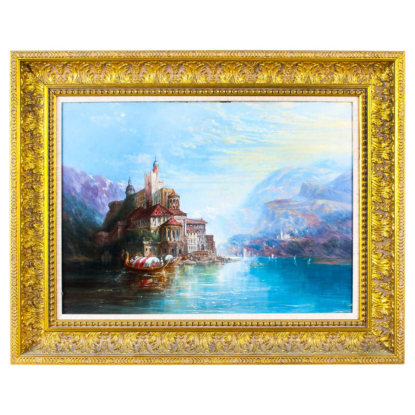 Antique Oil on Canvas Landscape Painting follower of Alfred Pollentine