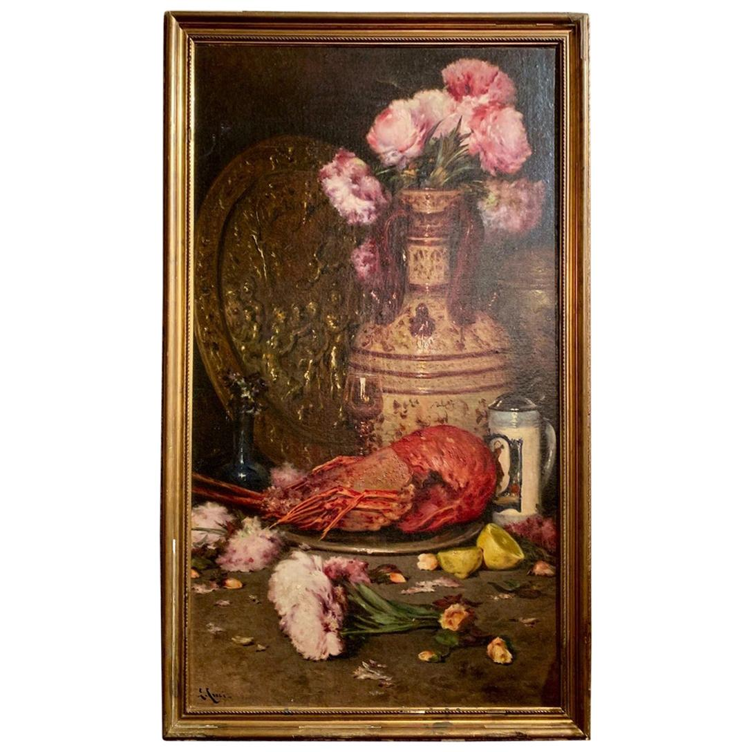 Antique Oil on Canvas Late 19th Century Still, Life