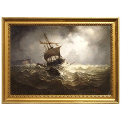 Antique Oil on Canvas Marine Painting from Normandy France, 1883