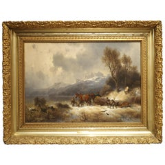Antique Oil on Canvas, Mountain Horse Logging Scene, Germany, 1867