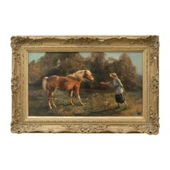 Antique Oil on Canvas of a Lady with Pony, Equestrian Painting