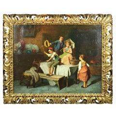 Antique Oil on Canvas of Interior Genre Scene with Children by R. Jelnik