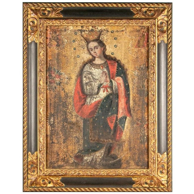 Antique Oil on Canvas of the Virgin Mary For Sale