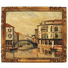 Antique Oil on Canvas of Venice