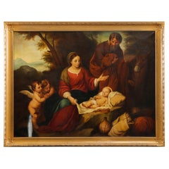 Antique Oil on Canvas Old Master Copy of Birth of Jesus Christ, 20th Century