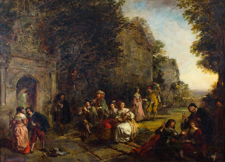 A lovely English oil on canvas paintings by Daniel Pasmore, (1829-1891) signed and dated 1873. The painting delightfully presents an expansive scene with people in period costumes playing music, drinking and generally cavorting in front of a large