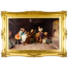 Antique Oil on Canvas Painting by Francesco Bergamini Dated 1894, 19th C