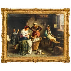Antique Oil on Canvas Painting Interior Scene by Sandro Bini 19th C