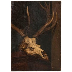 Antique Oil on Canvas Painting of Deer Skull by Peter Christian Hamberg