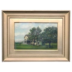 Antique Oil on Canvas Painting of North Shore, New York Home, circa 1900