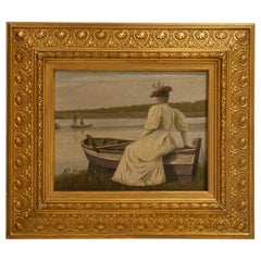 Antique Oil on Canvas Painting of Young Woman in White Dress Sitting on Edge of