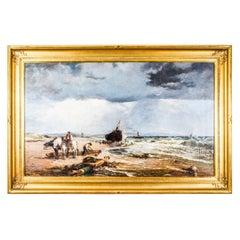 "Antique Oil on Canvas Painting ""Salvaging the Wreck"" by Samuel Bird 19th Century"