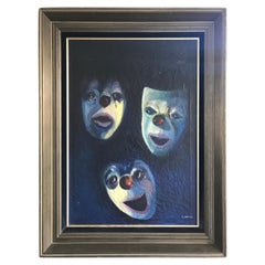 Antique Oil on Canvas Painting Showing Emotional Clown / Mime Masks by I. Weyts