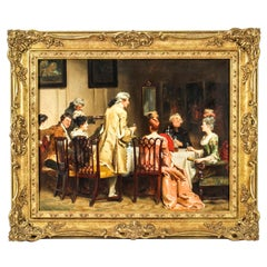 Antique Oil on Canvas Painting The Toast by Fred Roe Dated 1894, 19th Century