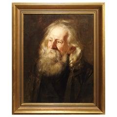 Antique Oil on Canvas Portrait by Johannes Kleinschmidt, 19th Century