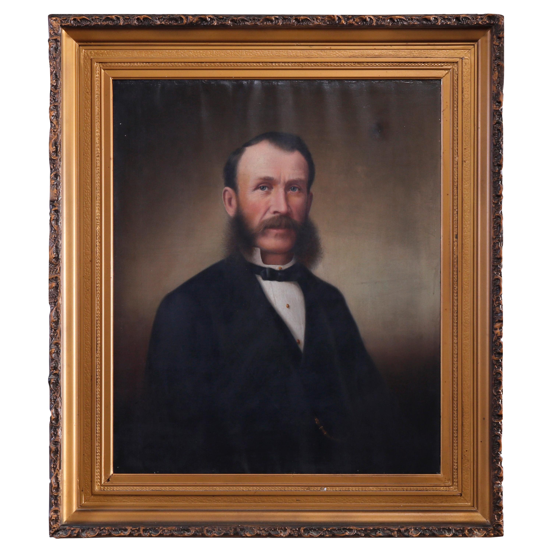 Antique Oil on Canvas Portrait of a Gentleman Baron, circa 1870