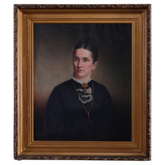 Antique Oil on Canvas Portrait of a Gentleman Baron's Wife, circa 1870