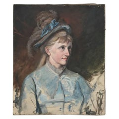 """Antique Oil on Canvas """"Portrait of a Swedish Lady"""""""