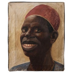 Antique Oil on Canvas Portrait of an African Male