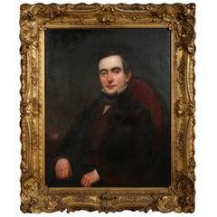 Antique Oil on Canvas Portrait of Seated Gentlemen, J.D. Hoyt, Buffalo NY