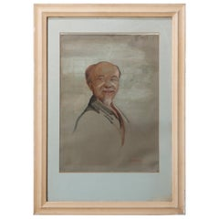 Antique Oil on Canvas Portrait Painting of a Wise Man by HM Gordon, circa 1930
