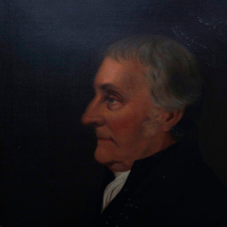 An antique oil on canvas portrait painting depicts profile of a baron, signed Walz and dated 1898, seated in giltwood frame.  ***DELIVERY NOTICE – Due to COVID-19 we are employing NO-CONTACT PRACTICES in the transfer of purchased items.