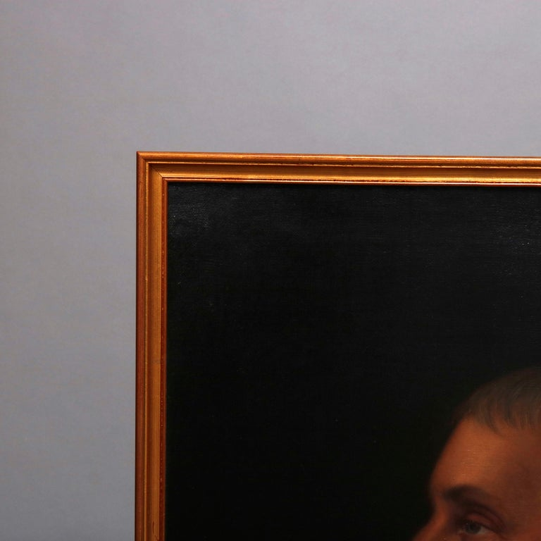 Hand-Painted Antique Oil on Canvas Portrait Painting of Baron Signed Walz and Dated 1898 For Sale