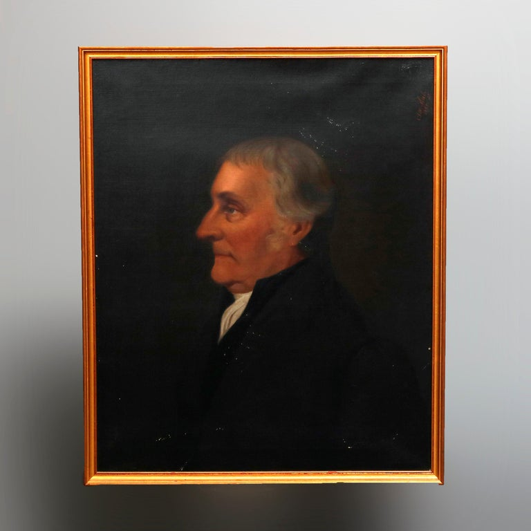 19th Century Antique Oil on Canvas Portrait Painting of Baron Signed Walz and Dated 1898 For Sale